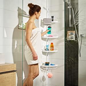 Deuba Estantería telescópica de baño Ducha Blanca estantes de Esquina Ajustables 155-290 cm Organización Toallas jabón