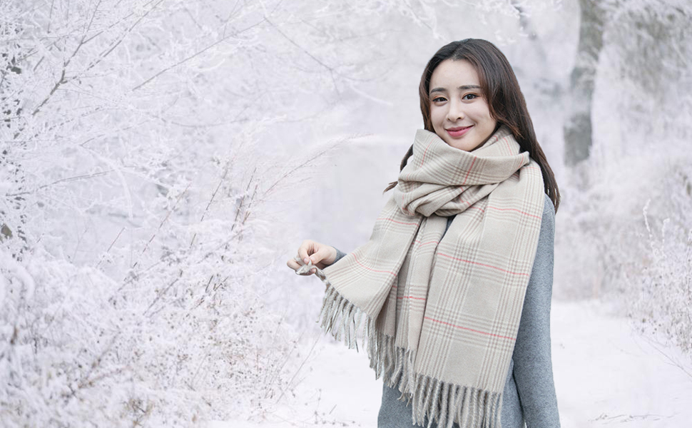 Warm Plaid Scarves for Women Gift
