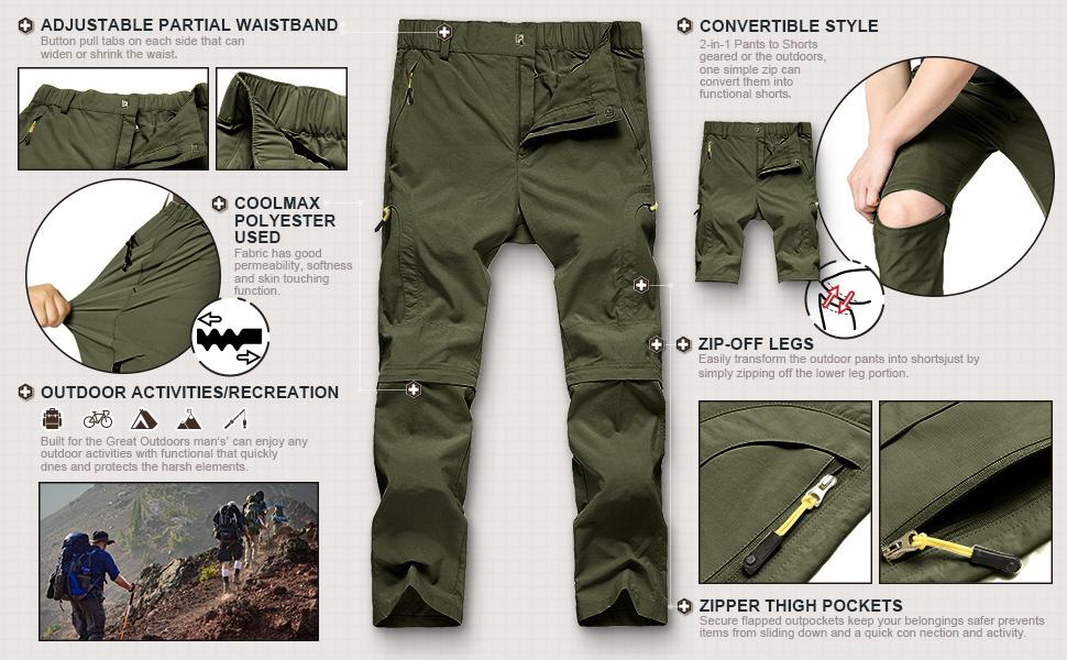 Quick Dry Convertible Zip Off Pants Outdoor Camping Pants Asfixiado Kids Boys Hiking Cargo Pants,Youth UPF 50