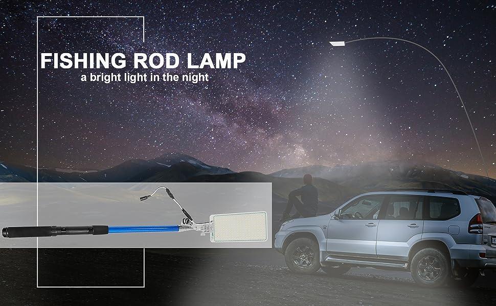 Telescopic Fishing Rod LED Lantern Outdoor Camping BBQ Car Light High Y1G1