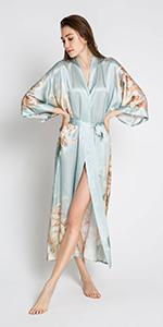 KIM+ONO Women's Silk Kimono Robe Willow Misty Jade