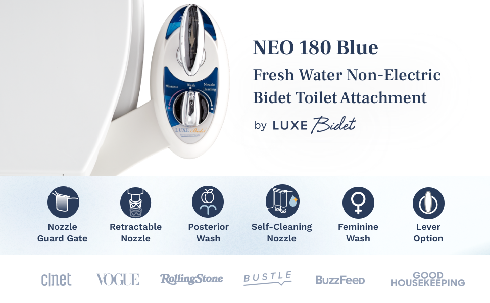 NEO 180 Blue. Fresh Water Non-Electric Bidet Toilet Attachment by Luxe Bidet