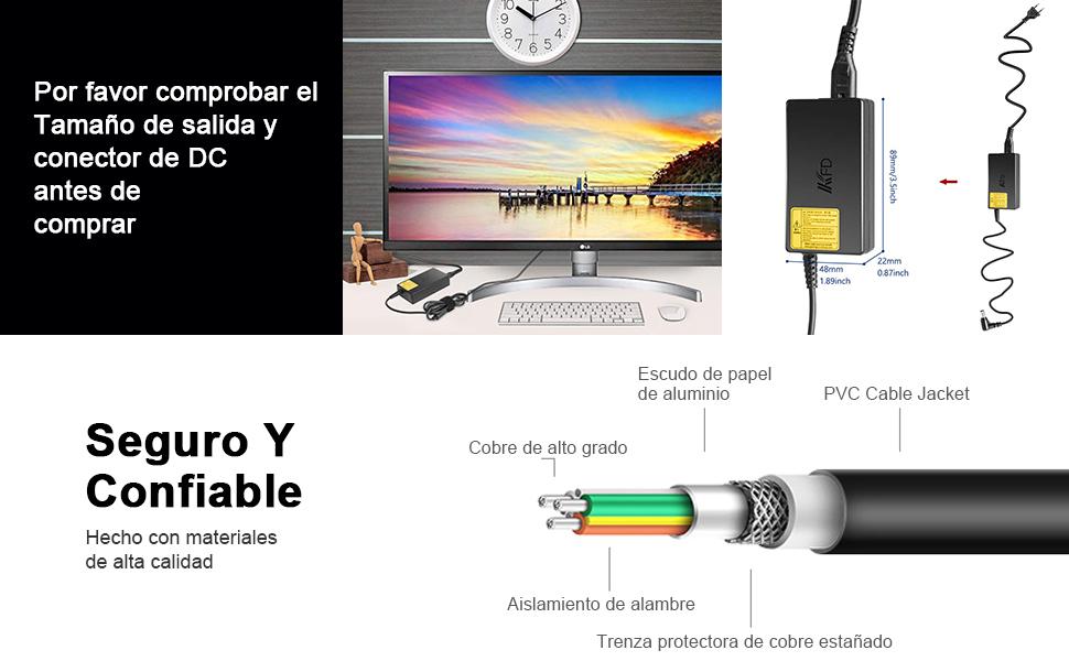 KFD 19V 2.1A 2.53A Adaptador Cargador Portátil Cable De Corriente para LG 19