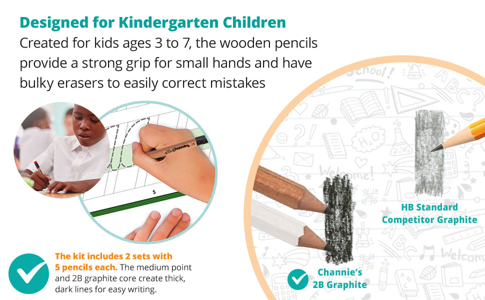 created for kids age 3 to 7, great for small hands. and bulky erasers to correct mistakes