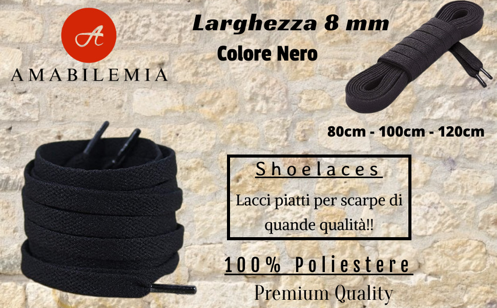 Lacci piatti per scarpe colore nero.