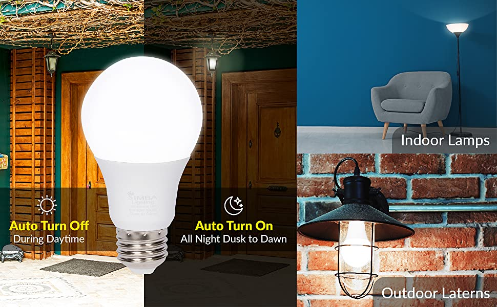 Simba Lighting LED porch light auto on off all nigh dusk to dawn bright white 5000K indoor outdoor