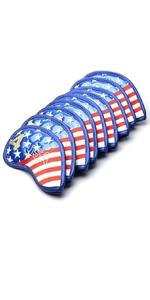 usa flag golf club iron head covers leather