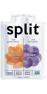 peanut butter, grape, split, split nutrition, snack, healthy, organic, protein, plant based, fruit