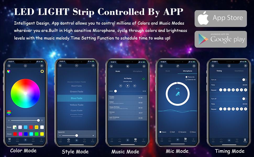 Flexible strip light APP Smart Controller Lights