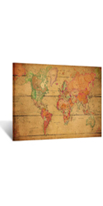 rustic home decor giant world maps for wall Vintage World Map Canvas Prints Wall Art