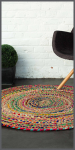 Braided jute and rags rug. can also be used as tapestry