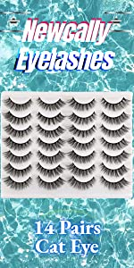 cat eye lashes pack 14 pairs