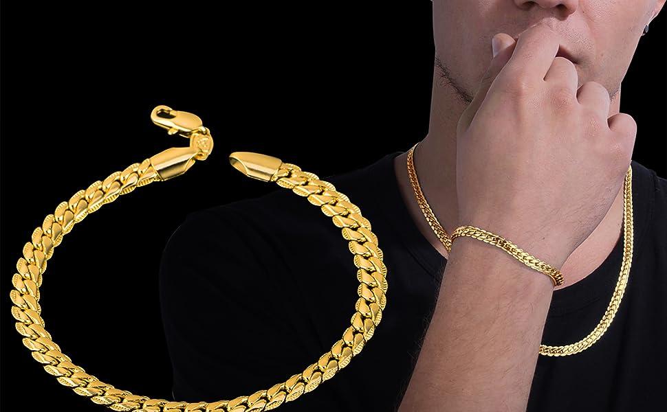 Men Gold Chain Bracelet
