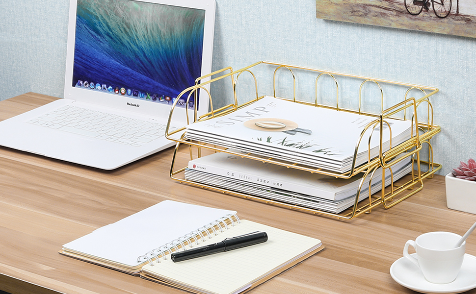 Set of 2 Office Supplies Metal Stackable File Document Letter Tray Organizer for Desk, Gold