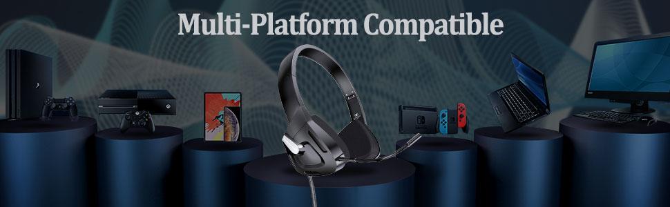 Kids Foldable Gaming Headset PS4 Mic Over-Ear Headphones PC Children/Teens/Boys/Girls/Smartphones