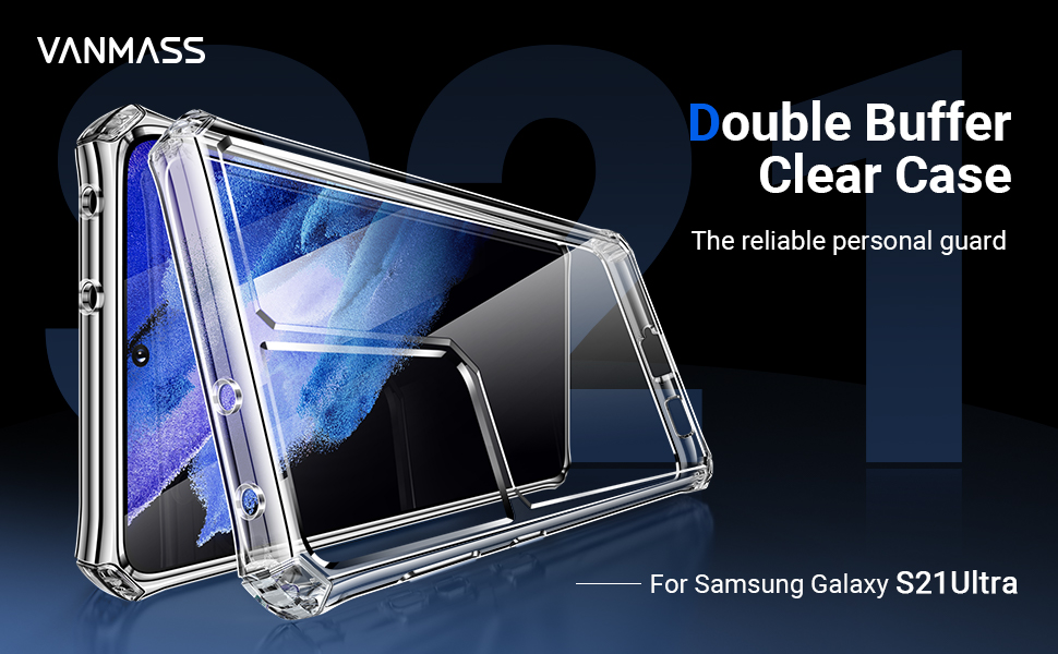 Double Buffer clear Case for Samsung Galaxy S21 Ultra