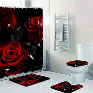 valentines day rose shower curtain