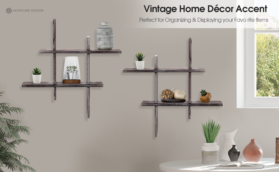 decorative and multi functional set of 2 rustic shelves grid shape