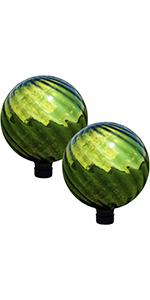 green rippled gazing globe, set of 2