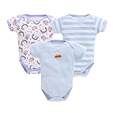 EIO® New Born Baby Multi-Color Long Sleeve Cotton Sleep Suit Romper for Boys and Girls Set of 3