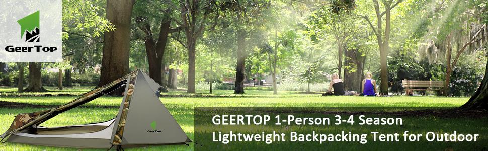 GEERTOP Tente de Randonn/ée Ultra L/ég/ère 1 personne 3-4 Saison pour Camping Trekking d/'Ext/érieur 1,5 kg 213 x 101 x 91 cm