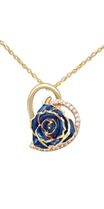 red Blue Rose Necklace torque jewelry