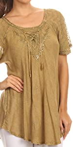 top blouse tops short sleeve corset lace flare soft summer casual everyday simple light loose fresh