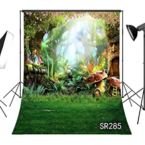 Vinyl Wonderland Cave Backdrop for Photography Newborn 7x5ft Green Leaf Blue Butterfly with Mushroom Enchanted Forest Background for Kids Babby Studio Photo Prop