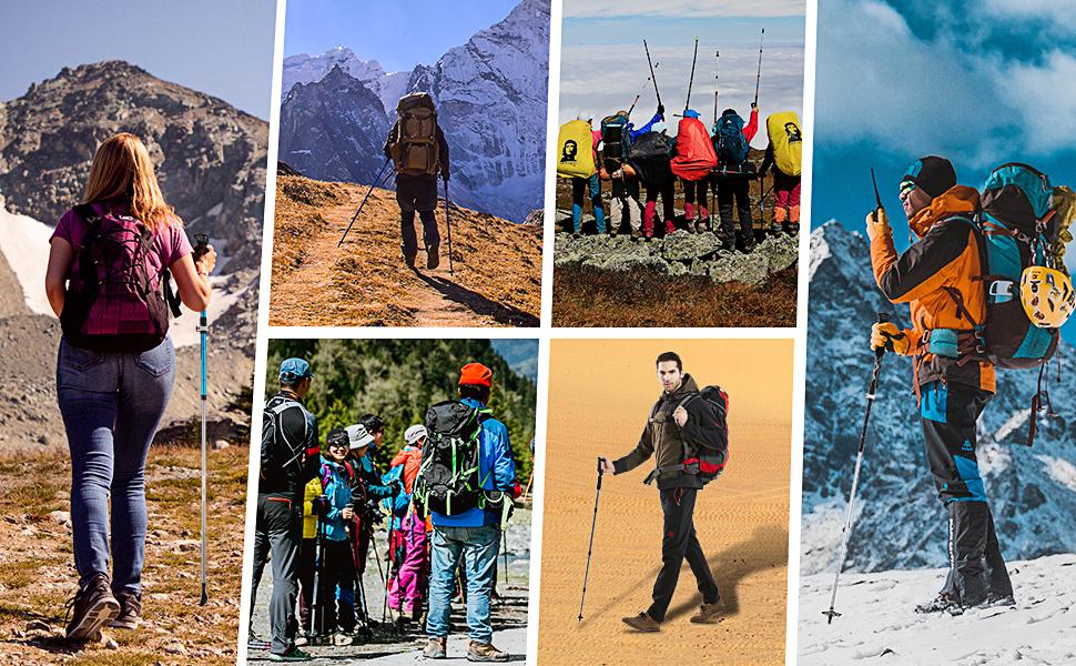Bast/ón de senderismo al aire libre anti-sudor palo de escalada de carbono Flber Lock tres equipos de senderismo
