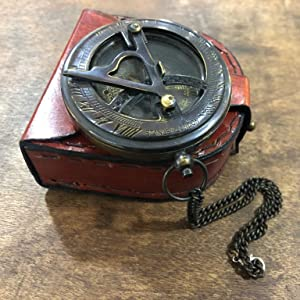 Maritime Nautical Brass Sundial Compass with an Exquisite Top Grain Leather Case Antiquated Fini