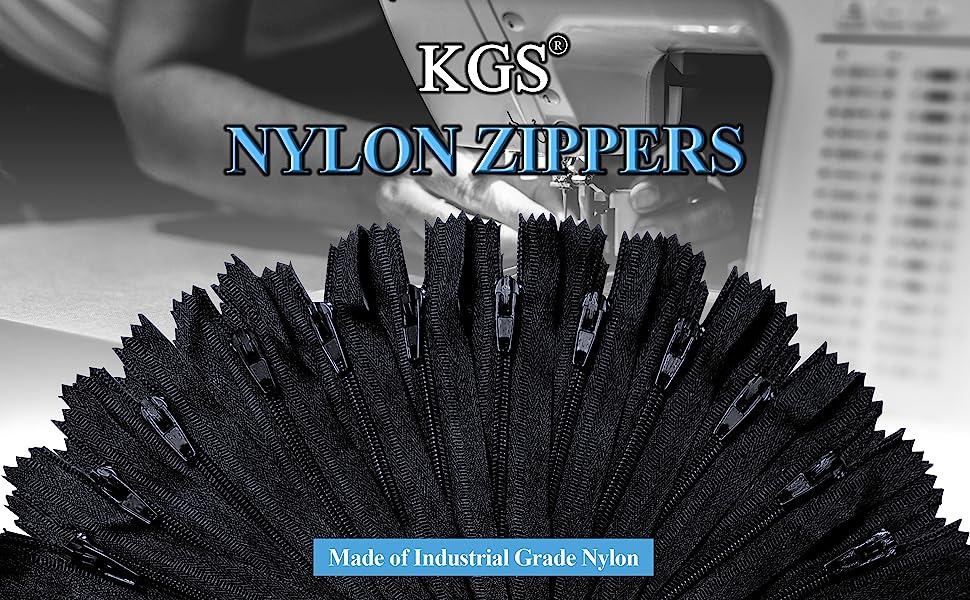 KGS black nylon zippers