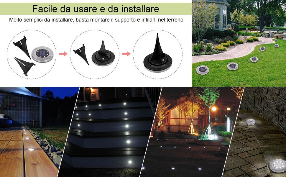 2x LED AD ENERGIA SOLARE FARETTO Pavimento Suolo Lampada Luce solare lampada di terra con picchetto