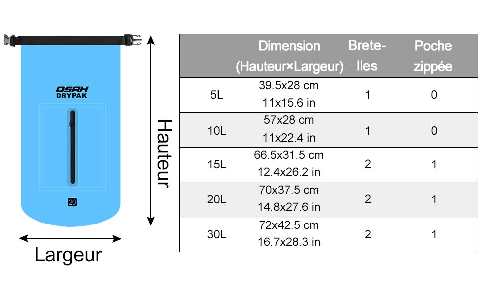 OSAH DRYPAK Sac /étanche Imperm/éable Etanches avec Longue Sangle r/églable pour Activit/és de Plein Air et Sports Kayak Bateau Cano/ë P/êche Rafting Natation Snowboard