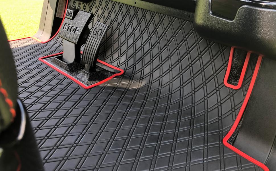 red trimmed mat on golf cart floor