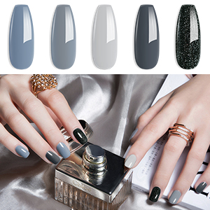Gray colors gel nail polish