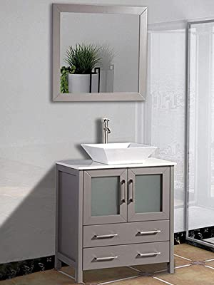 Amazon Com Vanity Art 42 Inch Single Sink Bathroom Vanity Set 1 Shelf 5 Drawers Quartz Top And Ceramic Vessel Sink Bathroom Cabinet With Free Mirror Va3130 42 E Kitchen Dining
