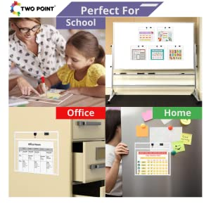 magnetic dry erase pocket sleeves two point job ticket holders cubicle keepers black reusable