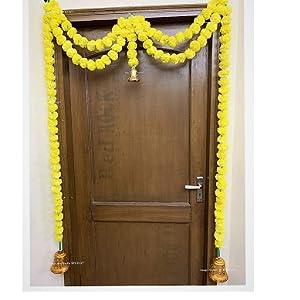 natural colored artificial marigold genda sphinx yellow genda door toran