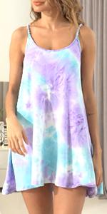 Ekouaer Sleepwear Women Sleeveless Nightgown Short Nightdress Tie Dye Tank Dress Slip Mini Dress