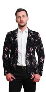 MOGU Mens 1 Button Floral Cotton Blazer Sport Coat Jacket
