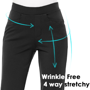 no zipper pull-on trouser classic look pants work office professional stretchy pocket