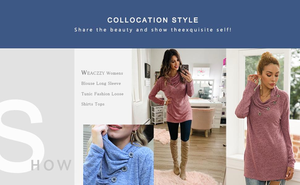 product image WEACZZY Womens Clothing Long Sleeve Tunic Fashion Loose Shirts Tops