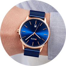 mens blue and rose gold watch wear model show