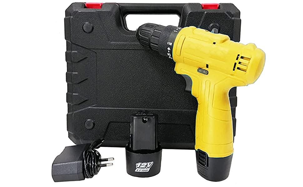 Cordless Screwdriver Drill Machine (10 mm Left/Right, 12v with 2 Batteries)