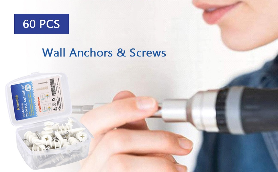 Details about  /60 PCS Wall Anchors Wall Anchors for Drywall Heavy Kit of 30 30 Anchors+30 Sc...