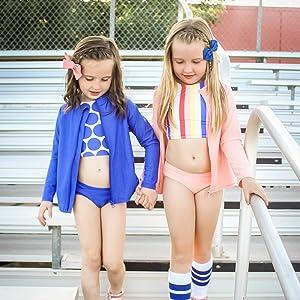 girls halter bikini swimsuit set swimzip upf 50+ uv sun protection swimwear