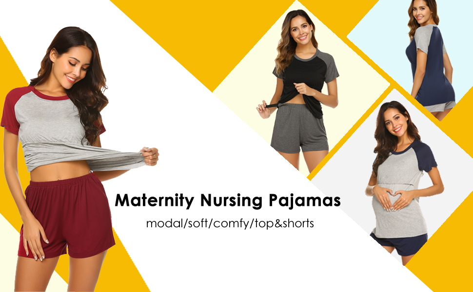 Ekouaer Labor/Delivery/Nursing Maternity Pajamas Set for Hospital Home, Basic Nursing Shirt