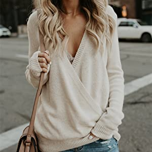womens sweater long sleeve wrap front loose deep v neck sexy sweater top sueter para mujer for women