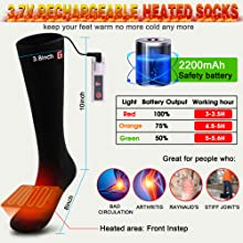 Christmas gift present electric heated socks men sox for outdoor sports thick warm socks foot warmer