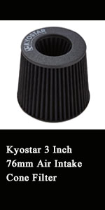 Kyostar Universal Black 3 Inch 76mm Air Intake Cone Filte